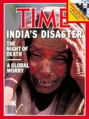La portada que dedicó la revista Time al Desastre de Bhopal.
